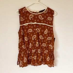 Zara sleeveless top w/ side tie and paisley design